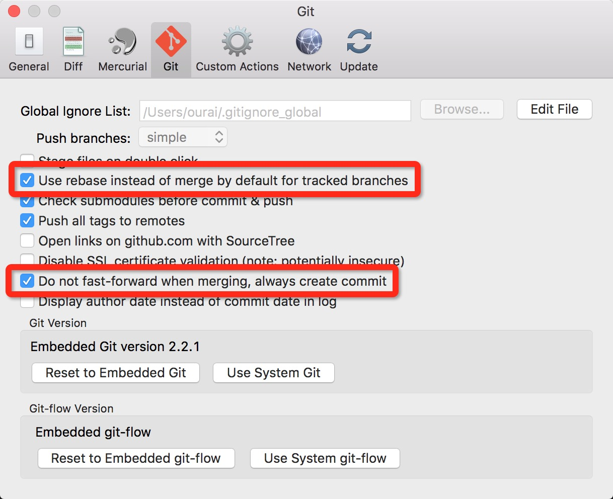 「Preferences」界面的「Git」标签